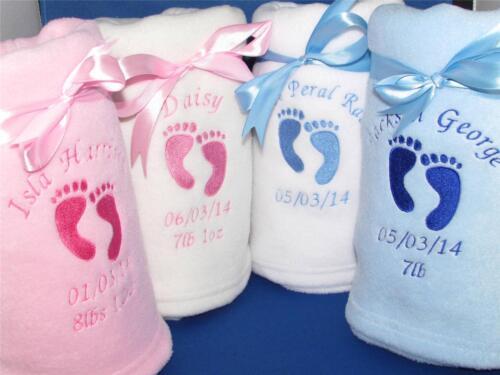 PERSONALISED BABY BLANKET FOOTPRINTS NAME DATE WEIGHT BOY GIRL GIFT NEWBORN