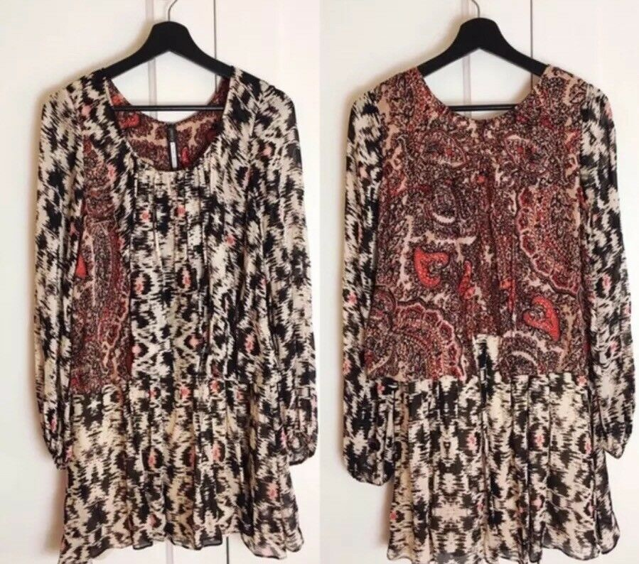 NWT Tracy Reese Anthropologie Ikat Paisley Layerot Viscose Dress S