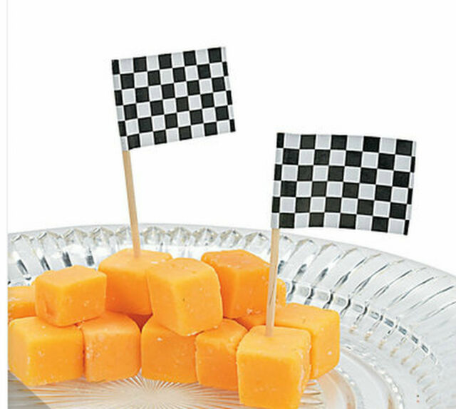 Racing Car Party Race Chequered Flag Food Picks Wood Pick Pack of 20 Free Post