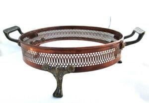 Details about Copper Casserole Carrier Serving Dish Holder Round Brass Feet  Handles Fancy 9