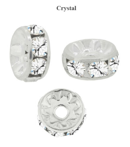 Genuine PRECIOSA Silver Plated Rondelle Beads Crystal Color Many Sizes