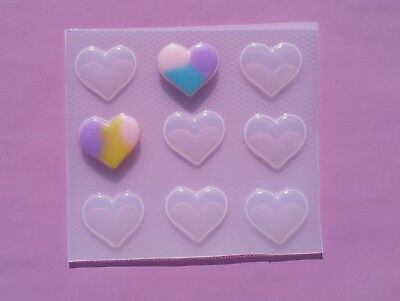 Small Bubble Puffy Heart Resin Mold Mould Casting Craft Food Safe Valentine/'s