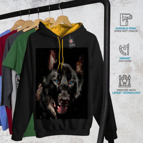 Hood Men Hoodie Black Contrast Wild New gold Animal Dog Wolf zwqUFOz