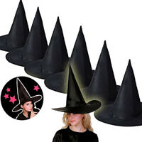 6Pcs Adult Womens Black Witch Hat For Halloween Party Costume Accessory Cap LOT