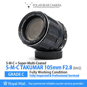 ⭐SERVICED⭐TAKUMAR 105mm F2.8 S-M-C *Portrait Prime* M42 + Caps[GRADE C, WORKING]