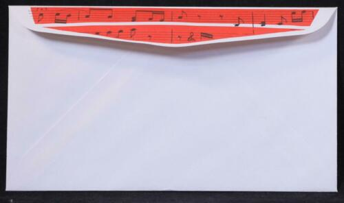 "20 6.5/"" X 3.5/"" Music Notes White Envelope New//Old Stock Twenty"