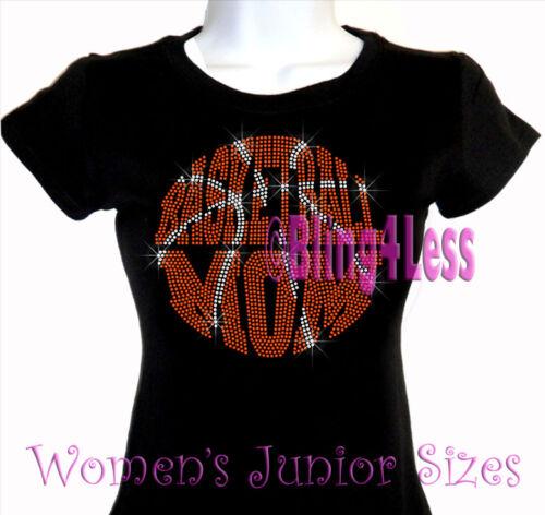 Large BALL Bling Sports Mom Top Basketball Mom Rhinestone Iron on T-Shirt