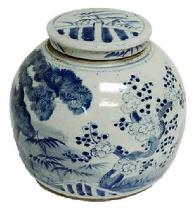 Vintage-Style-Blue-and-White-Porcelain-Lidded-Ginger-Jar-Floral-Motif-10-034