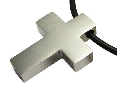 Herren Halskette Kreuz Anhänger Klassisch Edelstahl Gummi Halsband Silber Matt Warm Und Winddicht