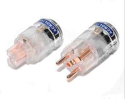1Set HiFi E25 EU Schuko Mains Power Plug Red Copper IEC Female