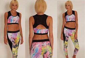 Mujer-Activewear-Gimnasio-Yoga-Leggings-Camiseta-disfraz-Brillante-tie-dye-UK-10