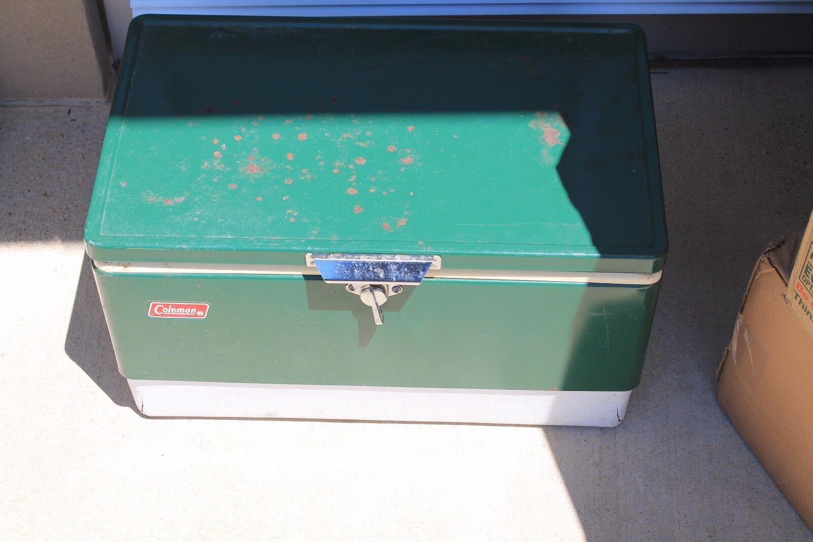 VINTAGE COLEMAN LANTERN CO. ANTIQUE RETRO COOLER ICE BOX Grün