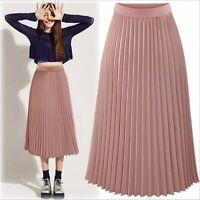 Ladies Chiffon Wrap Casual Summer Beach Long Maxi Pleated Skirts Size 6 8 10 12