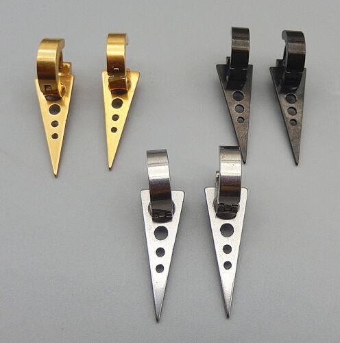 Gold//Silver//Black Stainless Steel Punk Triangle Hoop Huggie Dangle Earrings