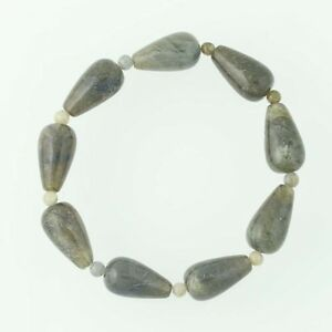 New-Green-Labradorite-Bead-Bracelet-Beaded-stone-Stretch-Band-Women-039-s-Statement