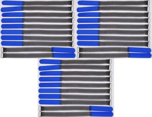 30x Klettband Kabelbinder FK 30 cm x 20 mm blau Klettbänder Kabelklett Metallöse