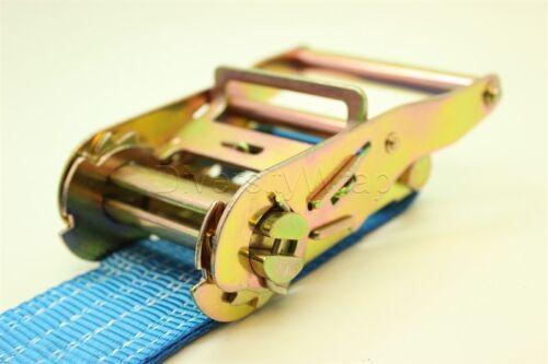 4x Correa de Trinquete Amarre 2T 5m x50mm Manija De Hierro Y Doble Hook