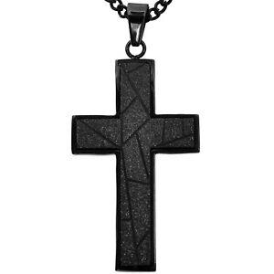 Men S Jewelry Stainless Steel Black Diamond Cut Cross Necklace 24 Chain Ebay