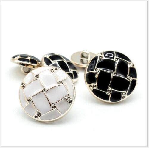 10x White Black Button Windbreaker Coat Jacket Decor Button Sewing DIY Accessory