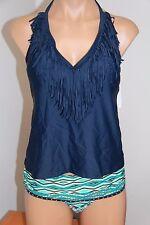 Jessica Simpson Swimsuit Bikini tankini 2pc set Sz XL Navy Multi Halter Skirt