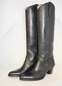 Cuoio boot leather black vitello Woman Calf 37½eu Nero suola Sole stivale 5vRnf60q