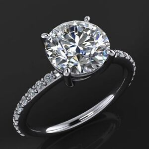 8mm Solitaire Center Big Moissanite Wedding Anniversary Ring 14k