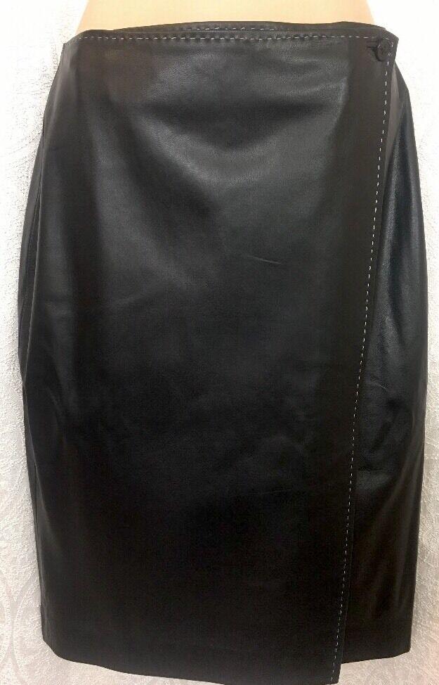Ralph Lauren Collection Wrap Skirt Dark bluee Lamb Leather Size 10