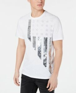 INC-Mens-T-Shirt-Classic-White-Size-XL-Sequin-Crew-Embellished-Tee-20-324