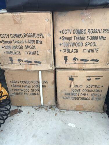 SIAMESE RG59//U CCTV COAX CABLE VIDEO 18AWG 1000 FT black
