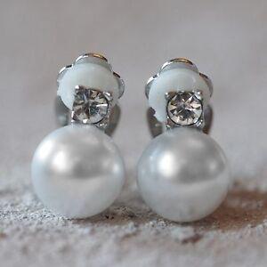 Ernst Neu Ohrclips Mit 10mm Perlen In Weiß 3mm Strasssteine Klar Ohrringe Ohrclipse