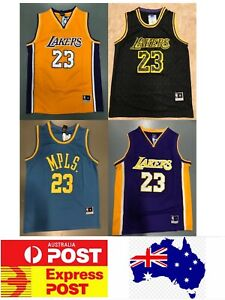 best website ff1e2 2f313 Details about Los Angels Lakers Lebron James jerseys, Gold, Black, Purple  and Blue MPLS versio
