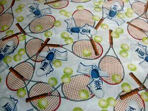Sports-Fabric-Match-Point-Tennis-Equipment-on-White-Racket-Balls-Shoes-BTY