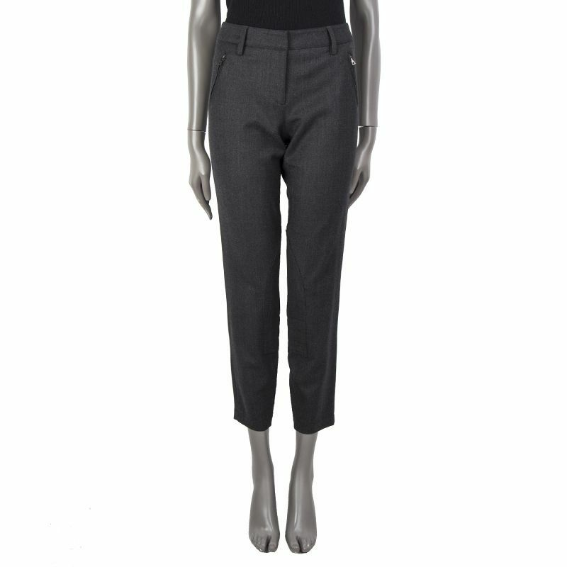 55133 auth PRADA grey wool Tapered-Leg Riding Pants 44 L