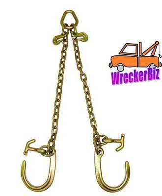 """5//16/"""" G70 V Chain V Bridle w// 3/' Legs /& 8/"""" J Hooks TOW Truck Wrecker Hauler"""