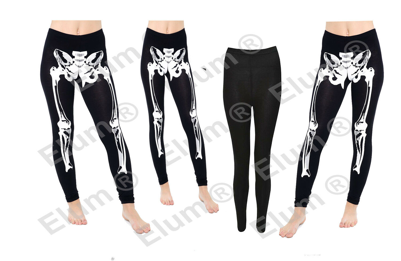Ladies Skeleton Bone Print Full Length Legging Viscose Women Halloween Trousers