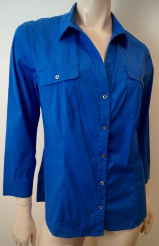 PIAZZA SEMPIONE Royal Blue Collared 34 Sleeve Formal Blouse Shirt Top