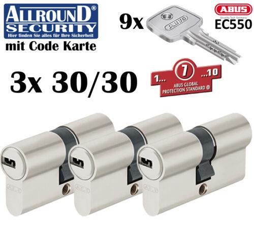 3x Cylindre Abus EC550 Système de Verrouillage Clé en Main S/'Ouvrant avec la