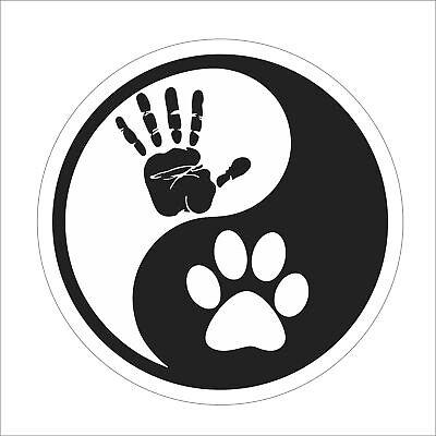 "Yin Yang Human Hand Dog Paw Sticker Decal Notebook Car Laptop 6/"" White"