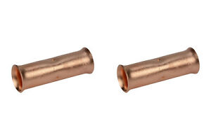 2/0 AWG TEMCo Butt Splice Connector Bare Copper Uninsulated Gauge. Two Count