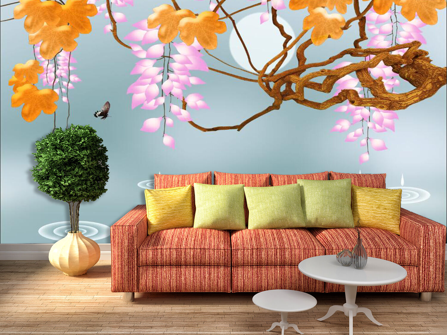 3D Beautiful Flowering Branch Wall Paper Print Decal Wall Deco Indoor wall Mural