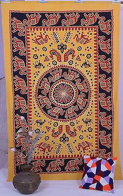 Yellow Elephant Twin Indian Mandala Tapestry Hippy Bedspread Wall Hanging Decor