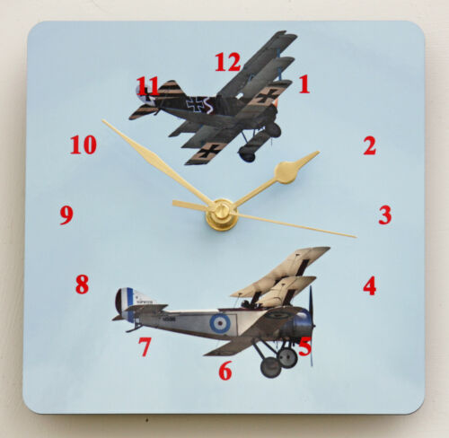 Square Wall Clock WW1 Aviators Aircraft from World War 1 Size 19cm by 19cm