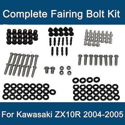 2006 2007 ZX-10R zx10r 154PCS Black Full Complete Fairing Bolt Kit Fasteners Nuts Screws USA