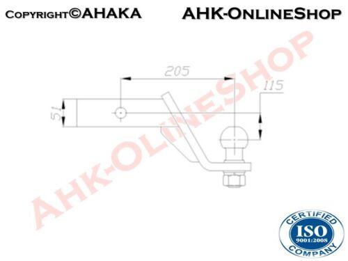 AHK 51x51mm Anhängebock Adapter tiefgezogen Toyota Land Cruiser II 1984–