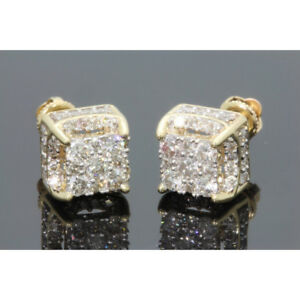 Women-White-Sapphire-Gold-Plated-Brilliant-Screwback-Stud-Earrings-Jewelry-1Pair