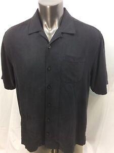 Tommy-Bahama-100-Silk-Short-Sleeve-Men-039-s-Shirt-Black-Size-Large-Nice