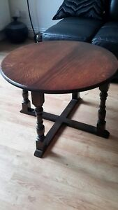 Image Is Loading Antique Oak Round Wood Coffee Table Turned Legs