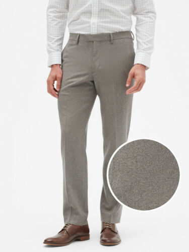 Banana Republic Men Wool Blend Slim-Fit Tweed Dress Pant Grey Texture Size 34,36