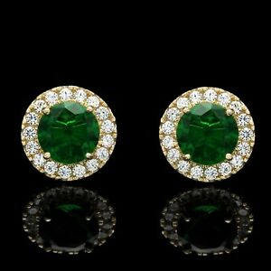 2CT-Halo-Created-Green-Emerald-Diamond-Stud-Round-Earrings-Solid-14k-Yellow-Gold