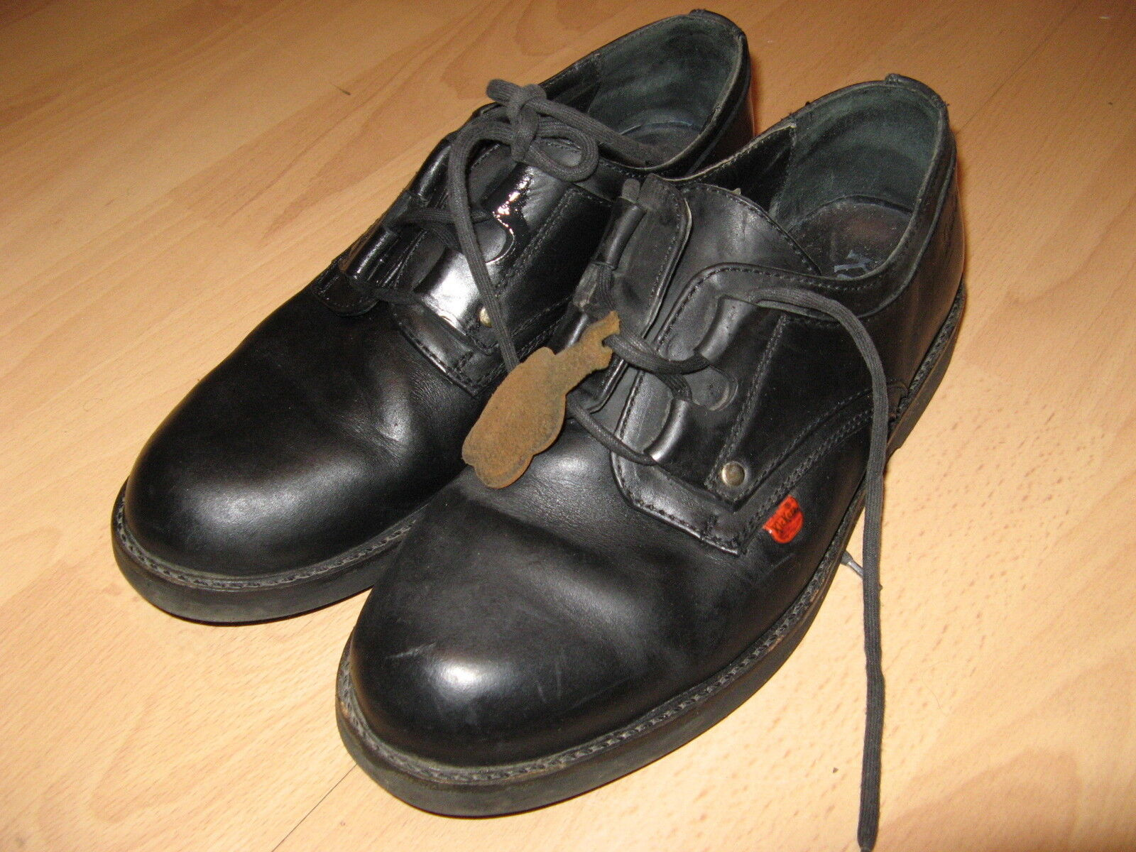 USED MENS BOYS BLACK LEATHER KICKERS LACE UP CASUAL SHOES SIZE 8 UK 42 EU 8.5 US
